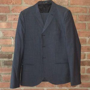 Topman 3-button skinny suit, blue tonic 40/34